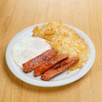 two eggs, sausage and hash browns | Batter Up Pancakes