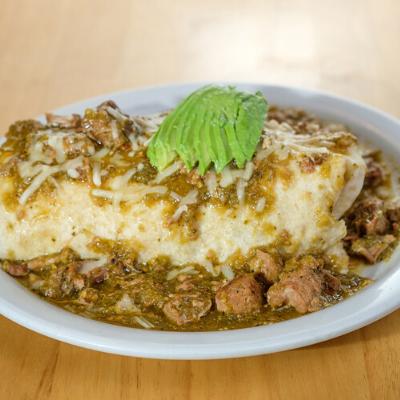 chili verde breakfast burrito | Batter Up Pancakes